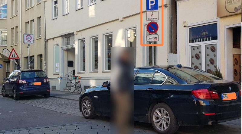 Unberechtigtes Parken auf Behindertenparkplätzen und an Ladestationen